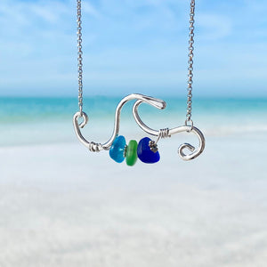 Stacked Sea Glass Wave Necklace