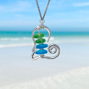 Stacked Sea Glass Heart Necklace