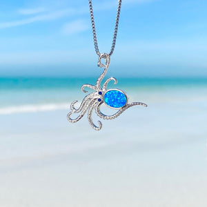 Blue Opal Dancing Octopus Necklace