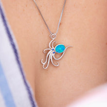 Load image into Gallery viewer, Blue Opal Dancing Octopus Necklace