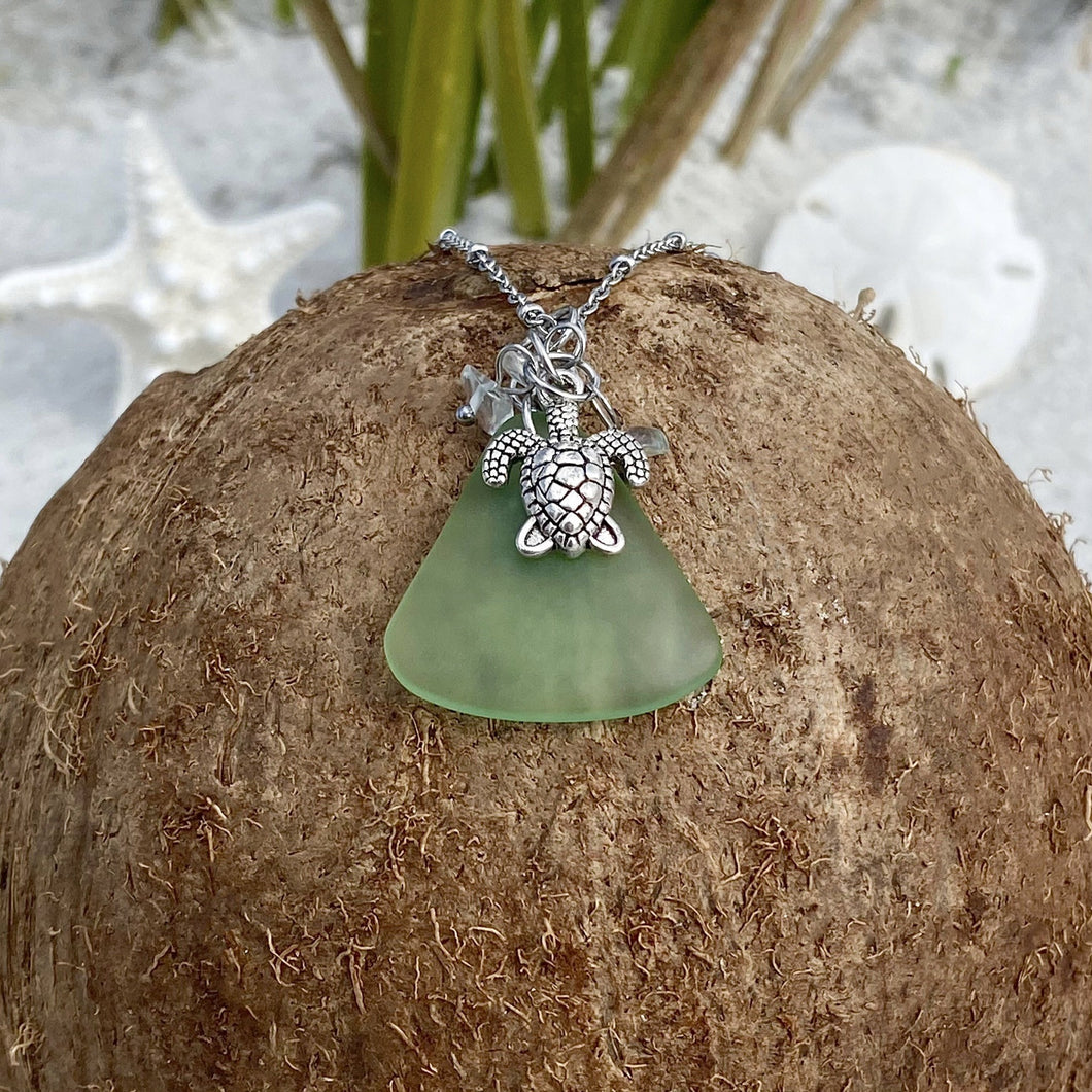 Triple Crystal Sea Turtle Sea Glass Necklace