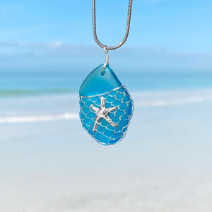 What a Catch - Blue Sea Glass Necklace