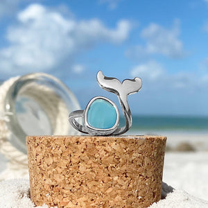 Sea Glass Whale Tail Ring