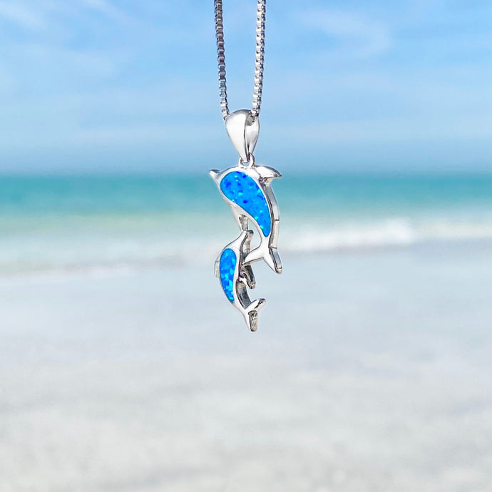 Blue Opal Dolphin Family Necklace