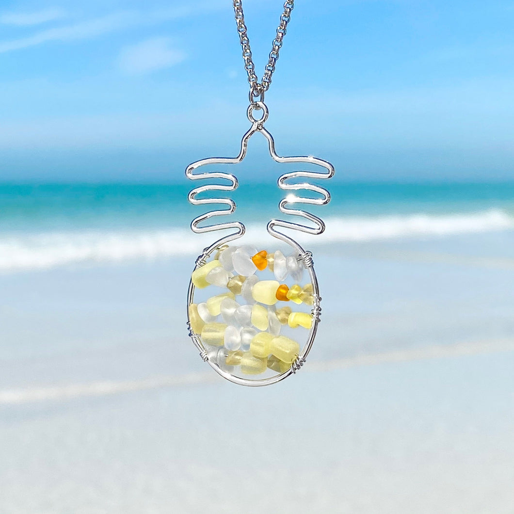 Stacked Sea Glass Pineapple Necklace