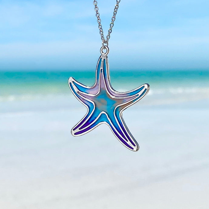 Colorful Enamel Starfish Necklace