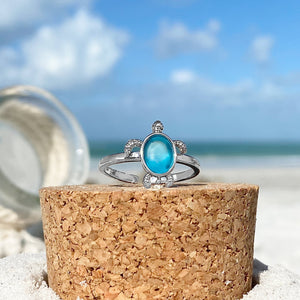 Blue Sea Turtle Ring