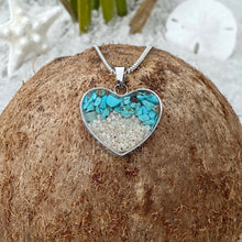 Load image into Gallery viewer, Teal Turquoise Sand Heart Necklace 2.0