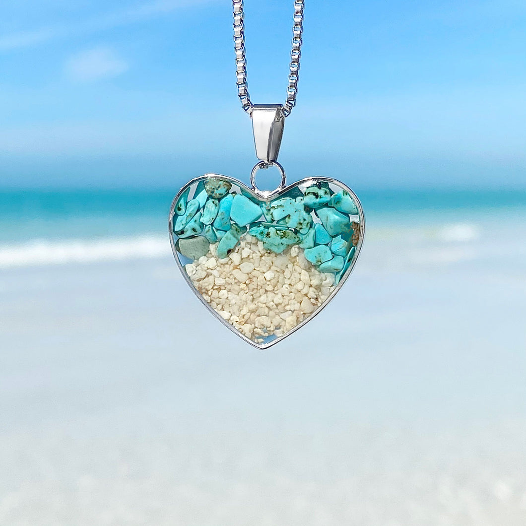 Teal Turquoise Sand Heart Necklace 2.0