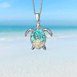 Teal Turquoise Sand Sea Turtle Necklace