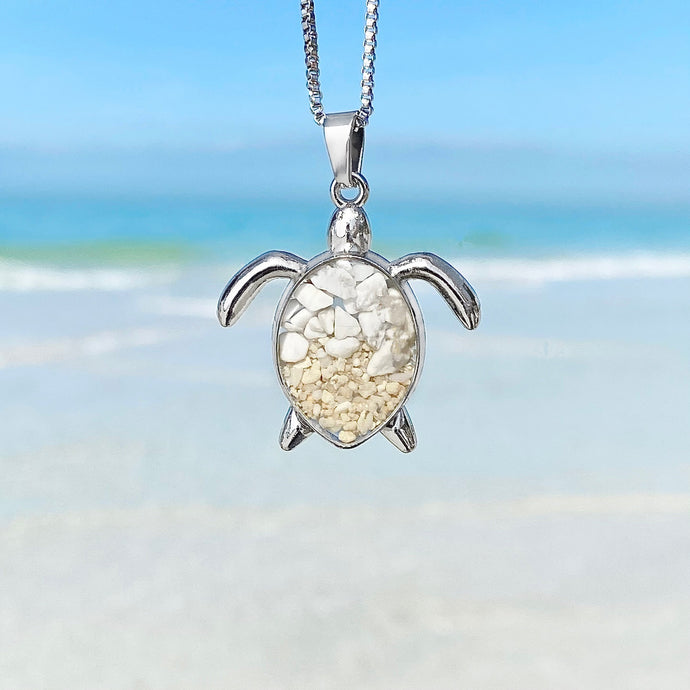 Sand White Turquoise Sea Turtle Necklace