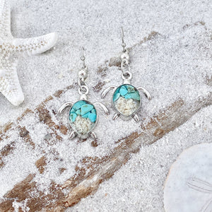 Teal Turquoise Sand Sea Turtle Earrings