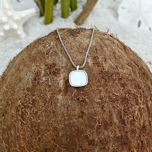 Mother of Pearl Square Dainty Necklace