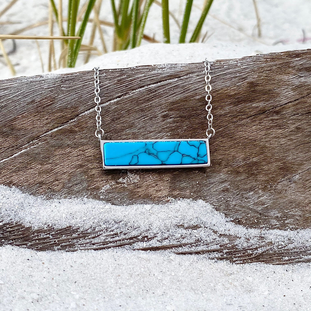 Ocean Blue Turquoise Bar Necklace