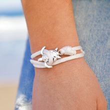 Load image into Gallery viewer, White Rope Silver Sea Turtle Bracelet