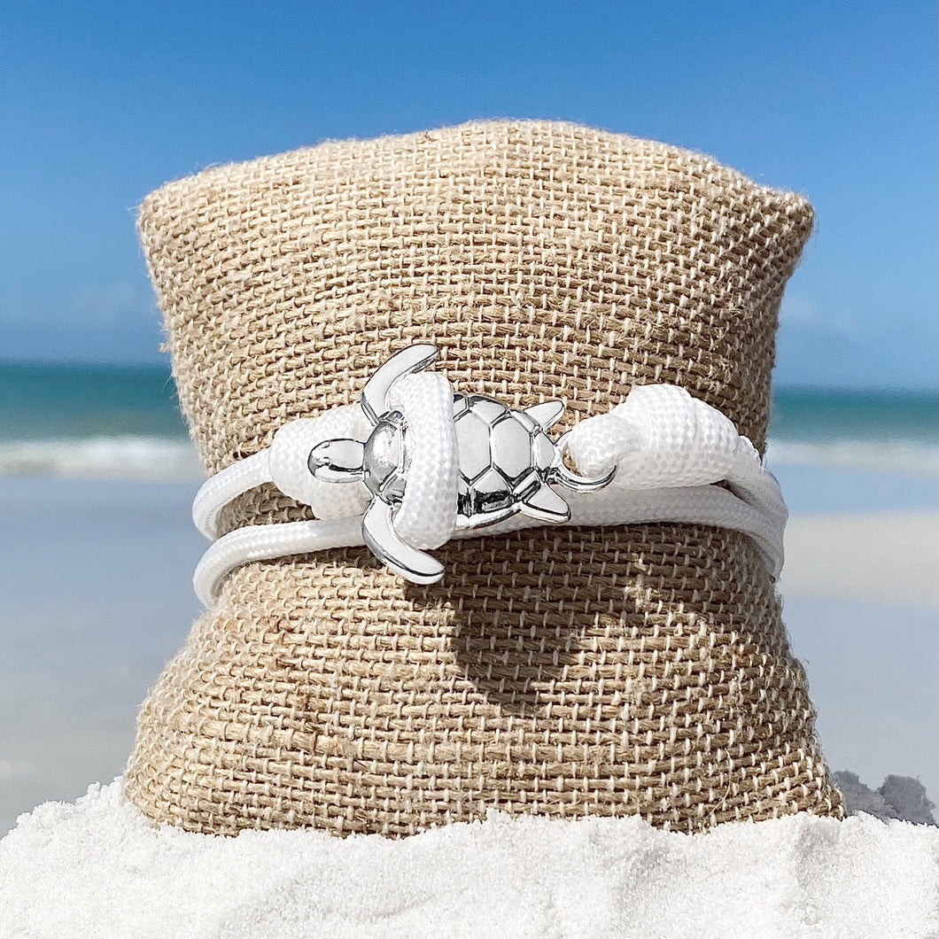 White Rope Silver Sea Turtle Bracelet