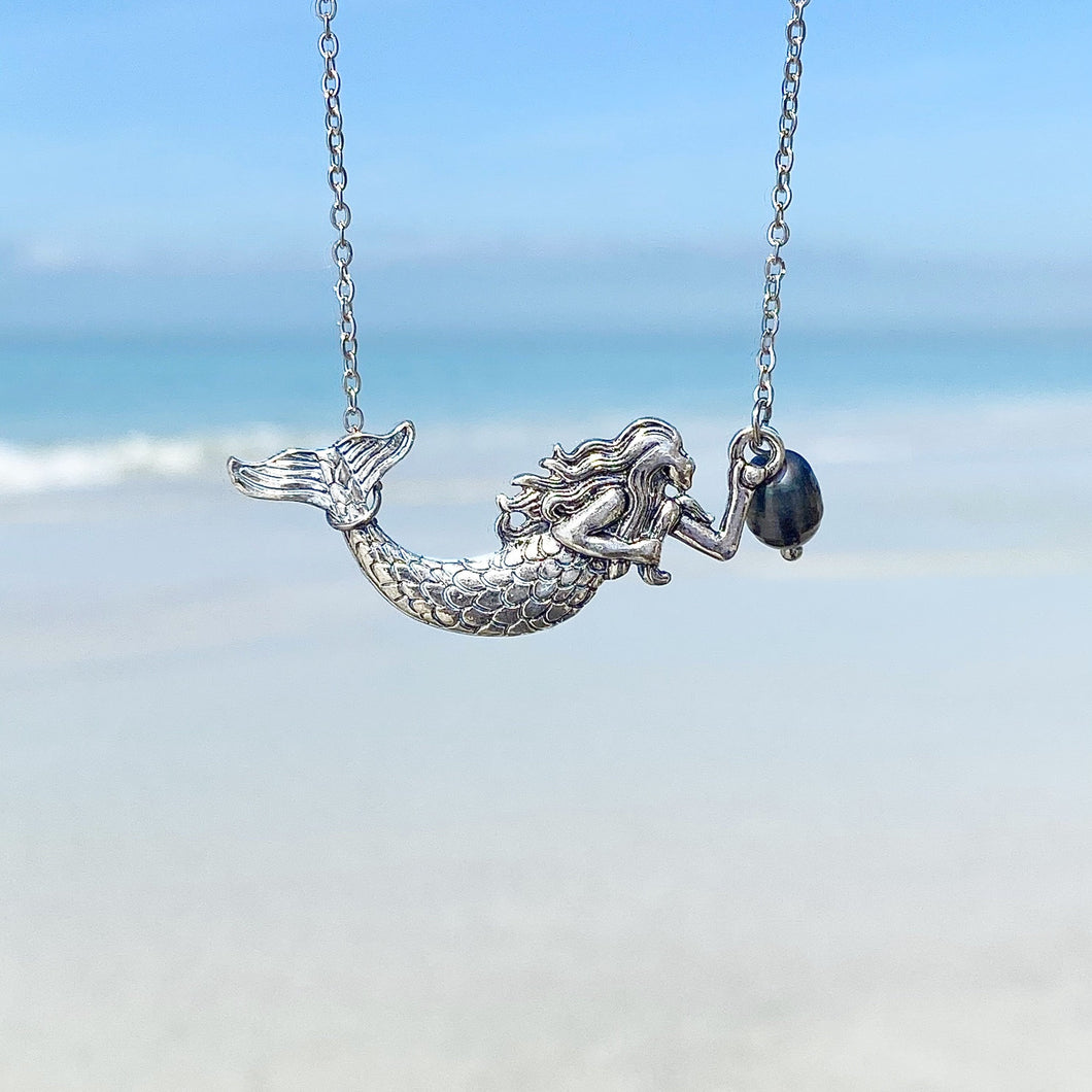 Black Pearl Mermaid Necklace