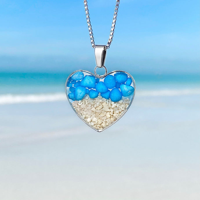 Blue Pebble Sand Heart Necklace
