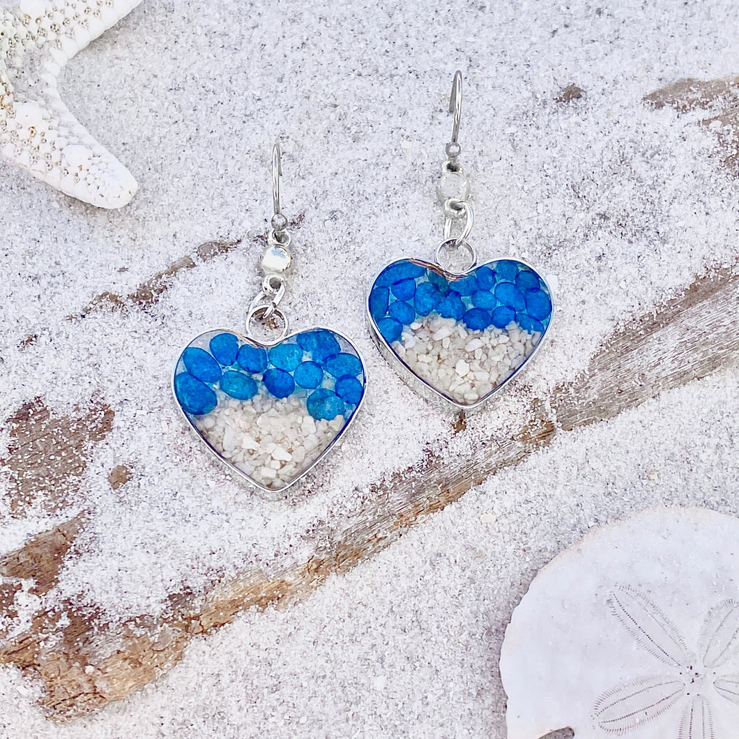 Blue Sea Glass Sand Heart Earrings