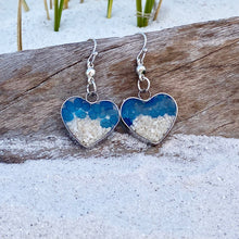 Load image into Gallery viewer, Blue Sea Glass Sand Heart Earrings