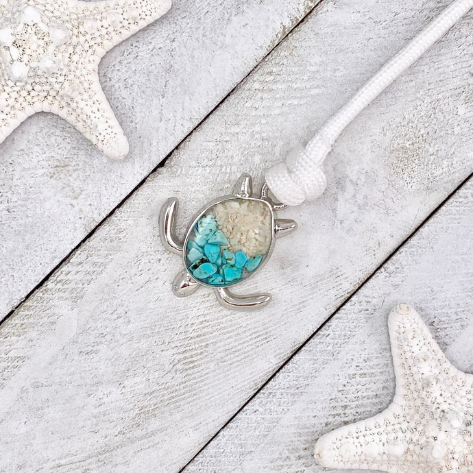 White Rope Teal Turquoise Sand Sea Turtle Bracelet
