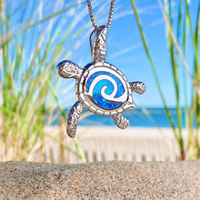 Load image into Gallery viewer, Blue Opal Curling Sea Turtle Necklace