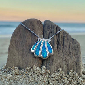 Blue Opal Classic Seashell Necklace