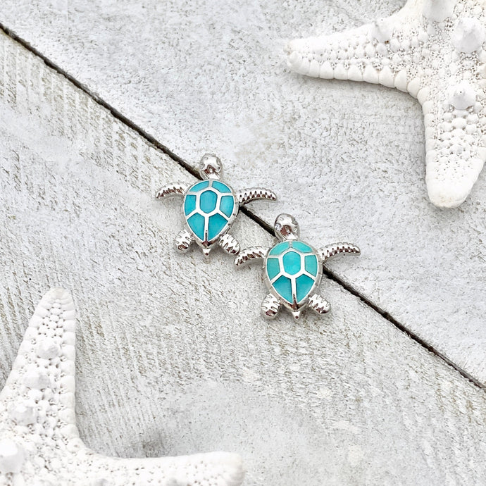 Teal Sea Turtle Stud Earrings