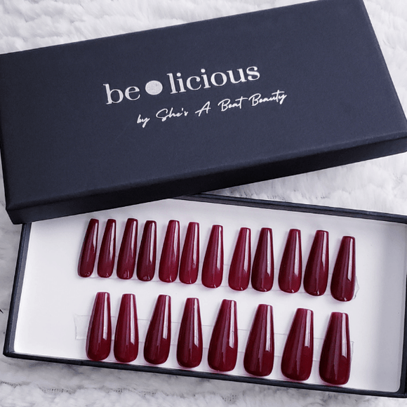 Long Wine Red Coffin Press On Nails - She's A Beat Beauty