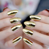 Gold Mirror Stiletto Press On Nails - She's A Beat Beauty