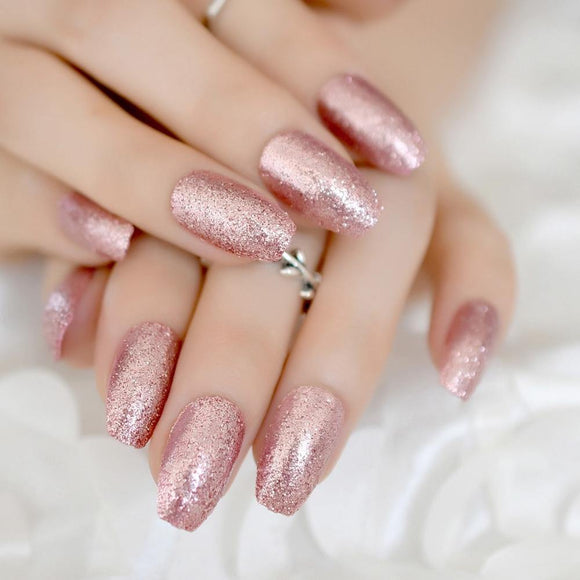 Pink Glitter Coffin Press On Nails - She's A Beat Beauty