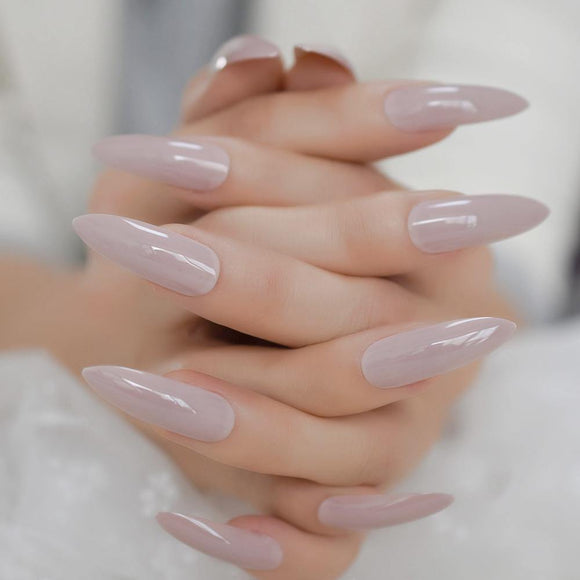 Long Nude Stiletto Press On Nails - She's A Beat Beauty