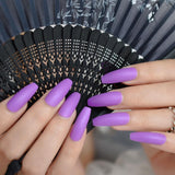 Purple Matte Coffin Press On Nails - She's A Beat Beauty