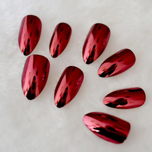 Dark Red Mirror Stiletto Press On Nails - She's A Beat Beauty