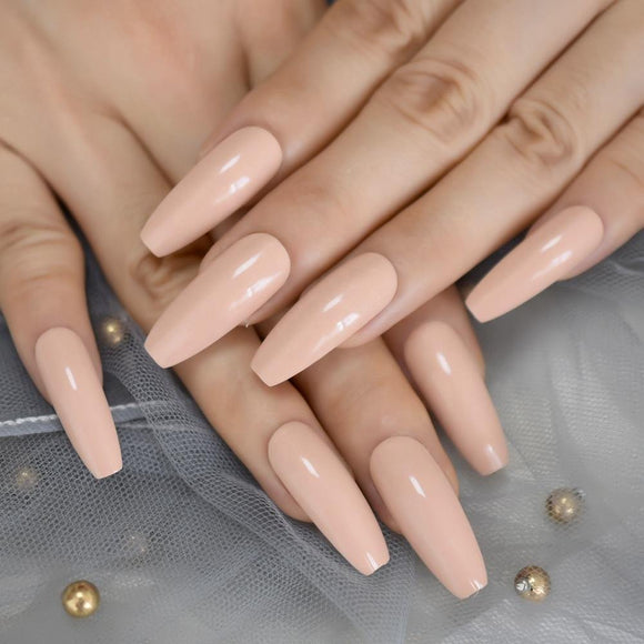 Nude Coffin Press On Nails - She's A Beat Beauty