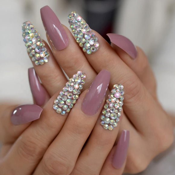 Luxurious Fuschia Sparkling 3D Rhinestone Coffin Press On Nails - She's A Beat Beauty