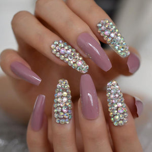 3D Rhinestone Coffin Press On Nails - She's A Beat Beauty
