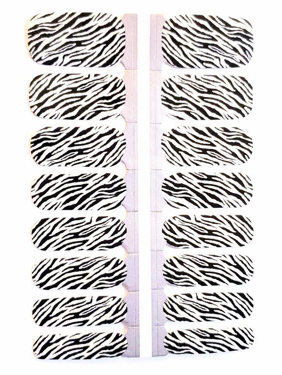 Zebra Press On Gel Nail Polish Wrap - She's A Beat Beauty