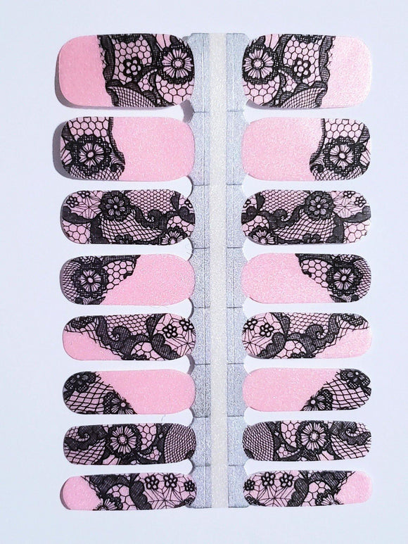 Pink Lace Press On Gel Nail Polish Wrap - She's A Beat Beauty
