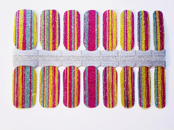 Colorful Glitter Press On Gel Nail Polish Wrap - She's A Beat Beauty