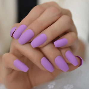 Matte Lavender  Coffin Press On Nails - She's A Beat Beauty