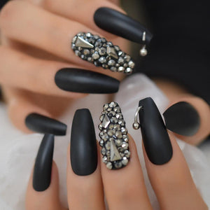 Matte Black 3D Rhinestone Coffin Luxurious Press On Nails - She's A Beat Beauty