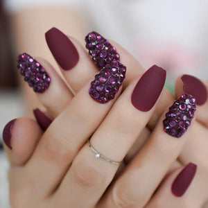Red Wine Matte Coffin Press On Nails - She's A Beat Beauty