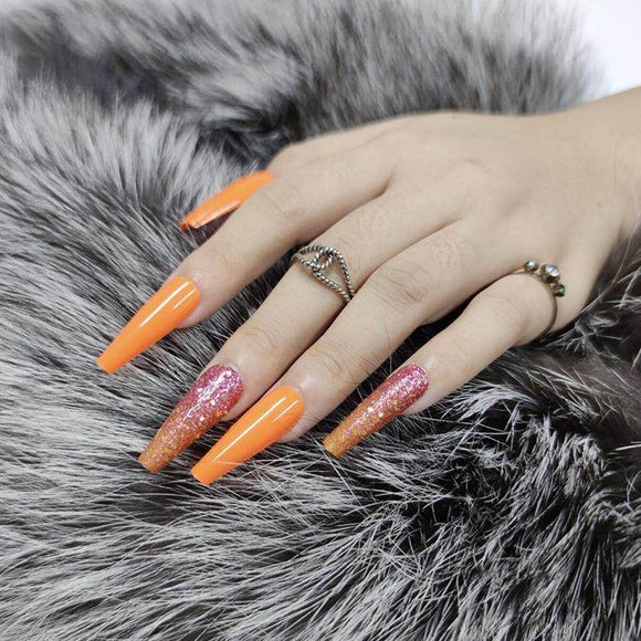 Orange Press On Nails - She's A Beat Beauty