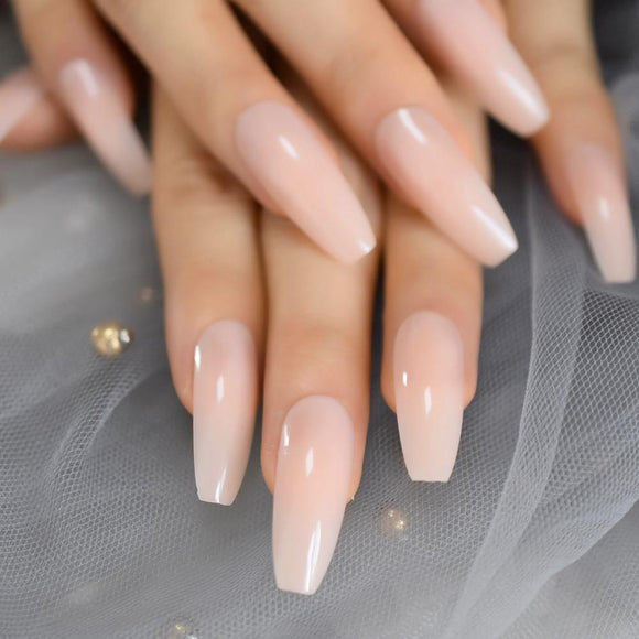 Natural Nude Coffin Press On Nails - She's A Beat Beauty