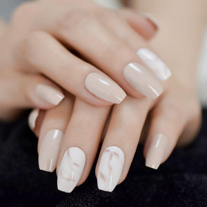 White Marble Nude Press On Nails - She's A Beat Beauty