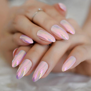 Pink Holographic Stiletto Press On Nails - She's A Beat Beauty