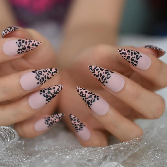 Pink Leopard Matte Point Press On Nails - She's A Beat Beauty