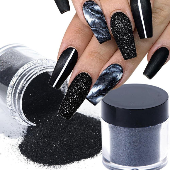 Black White Nail Glitter Dipping Powder - She's A Beat Beauty