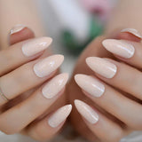 Shiny Almond Nude Nails - She's A Beat Beauty